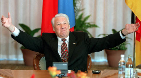 ** FILE ** Russian President Boris Yeltsin  gestures while speaking to the media in Bor, a wooden retreat outside Moscow, in this Thursday, March 26, 1998 file photo. Yeltsin, who engineered the final collapse of the Soviet Union and pushed Russia to embrace democracy and a market economy as the country's first post-Communist president, has died, a Kremlin official said Monday, April 23, 2007. He was 76.  (AP Photo/ Mikhail Metzel, File)